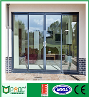 Australian standard double glazing aluminium sliding door two side open and sound insulation
