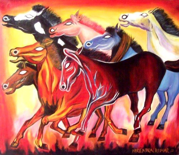 Seven Horses Of Sunducksganeshabambooshiva Parvati Dancing