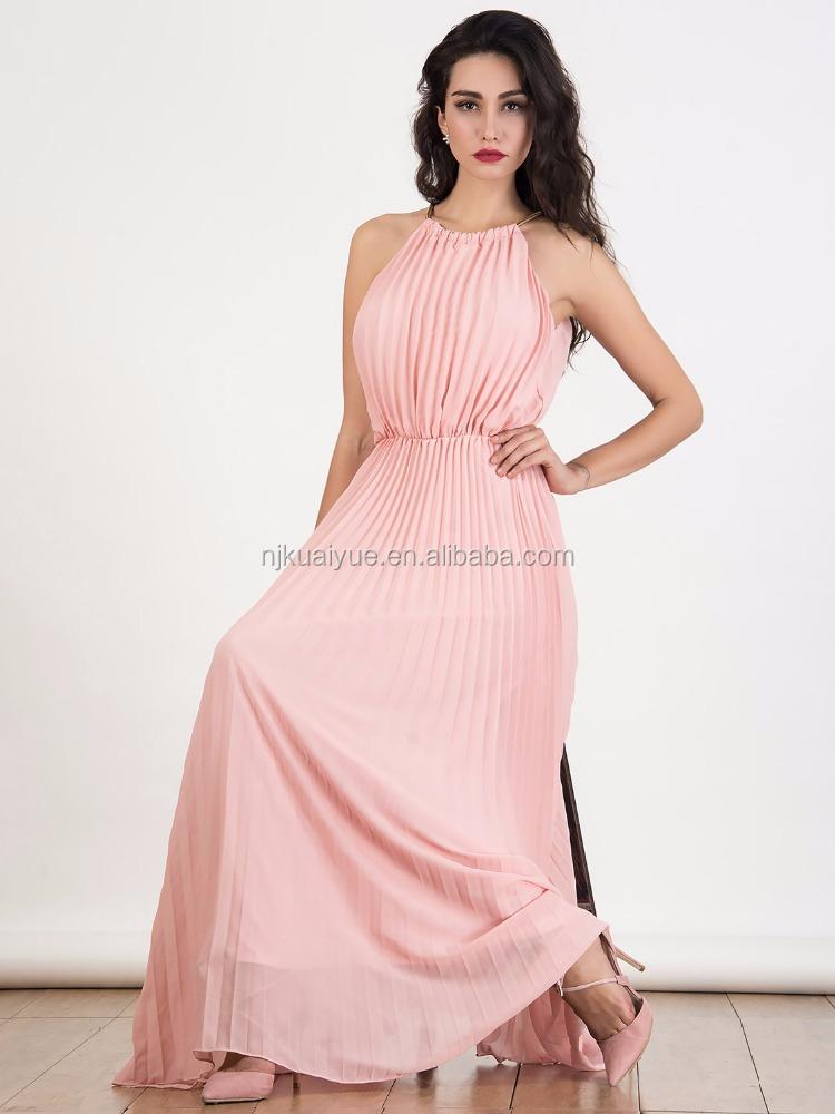 Гофрированные длинные платья