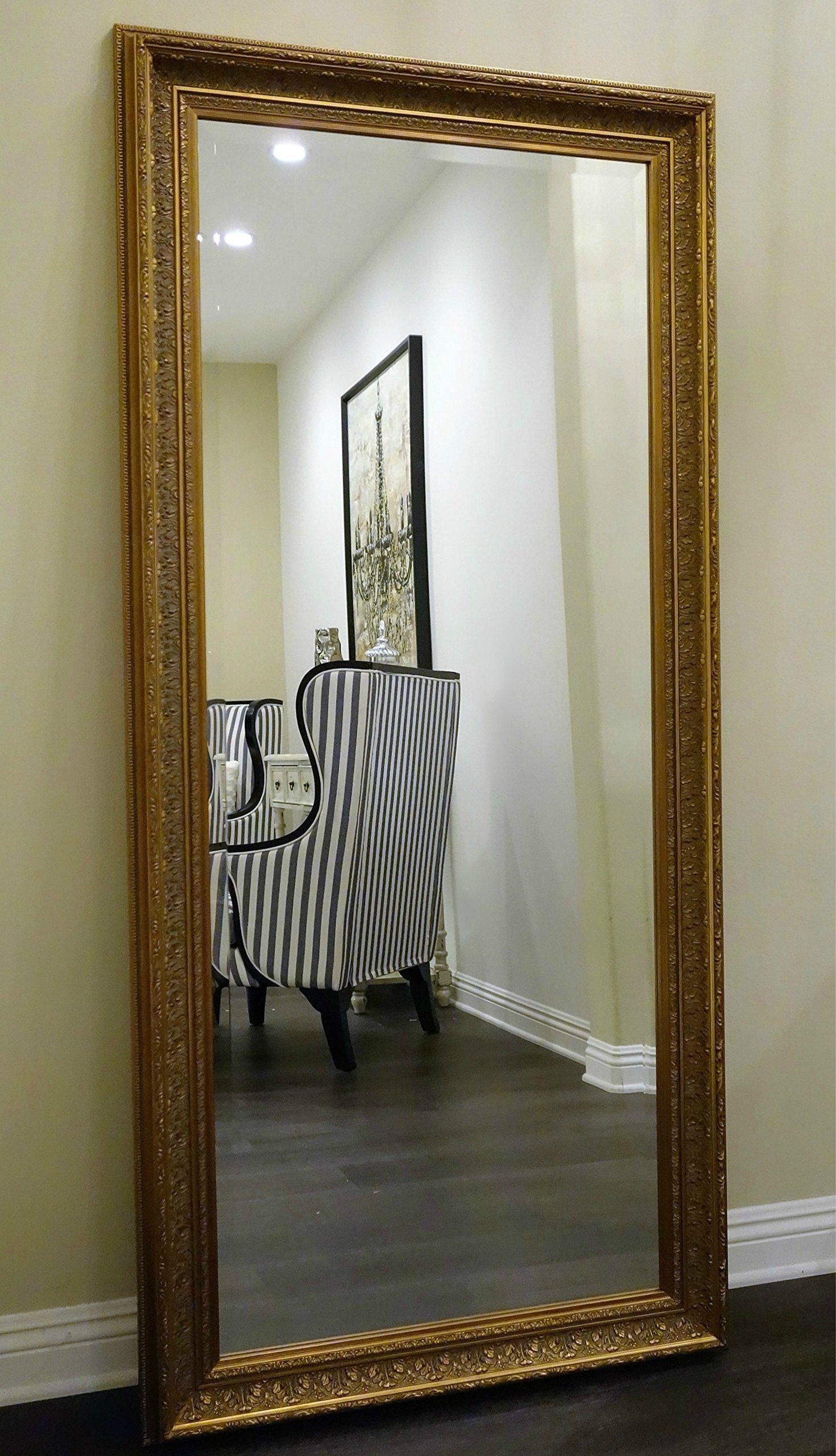 West Frames Elegance Ornate Embossed Antique Gold Leaf Wood Framed Floor Mirror