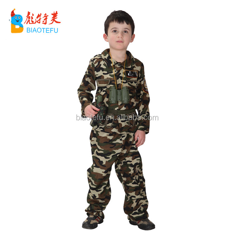 Haolloween carnival kids military uniform cosplay costumes boys party use soldiers camouflage costumes