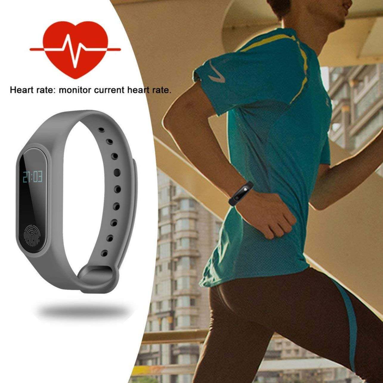 0.42 Inch OLED Smartband Bluetooth Heart Rate Monitor Time Display Smartband(Color:Gray)