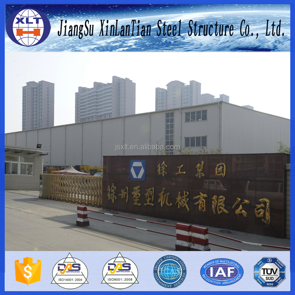 Well design steel structure factory building with crane