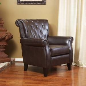 Solvang Tufted Brown Leather Club Chair
