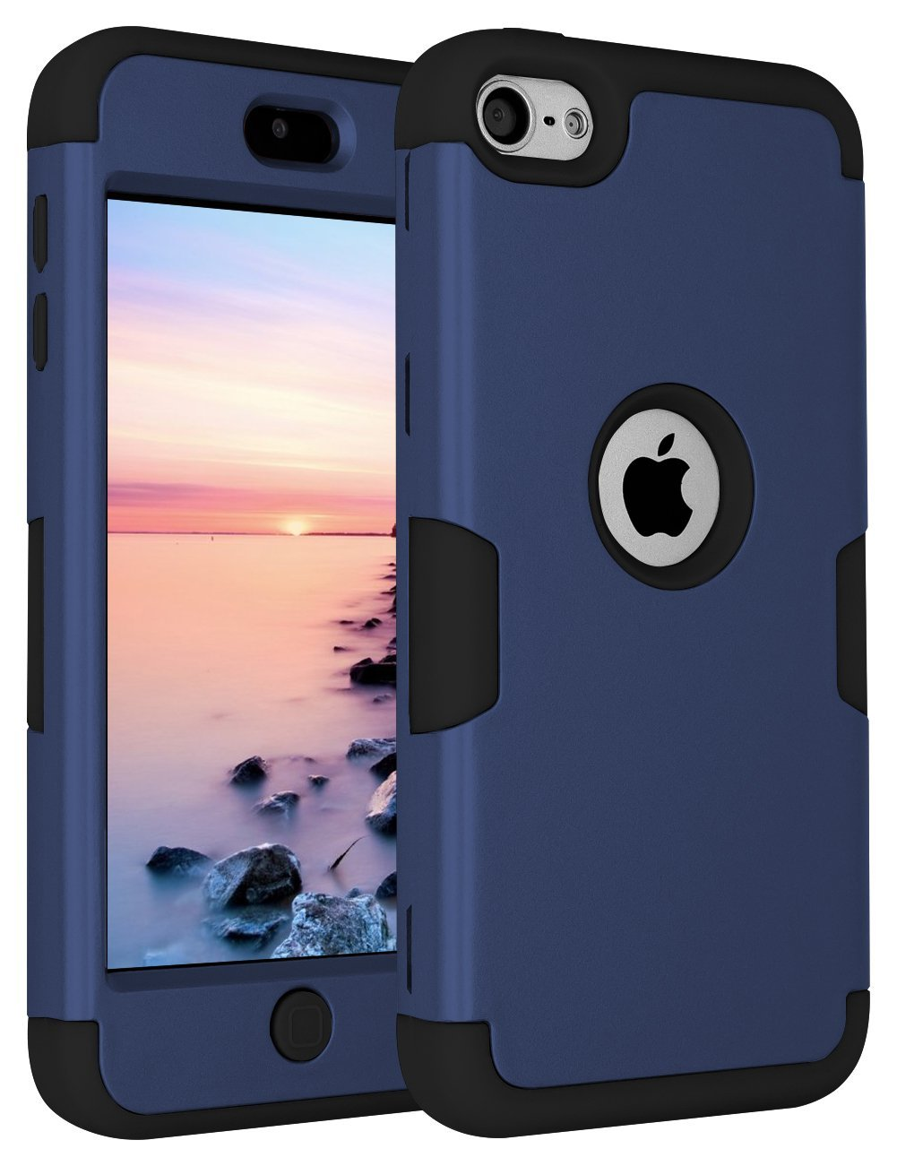 iPod Touch 6 Case,iPod Touch 5 Case,ANLI(TM)[Colorful Series] 3-Piece Style Hybrid Silicon Hard Case Cover for Apple iPod Touch 5 6th Generation 2015 Realeased (Deep Blue/Black)