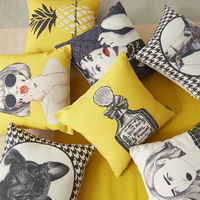 Latest fashion design yellow girl pineapple dog cotton cushion cover with geometric linen wholesale