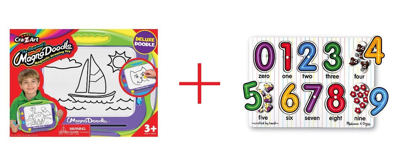 Cra-Z-Art Magna Doodle Deluxe Doodler and Melissa & Doug Classic Peg Puzzle - See Inside Numbers - Bundle