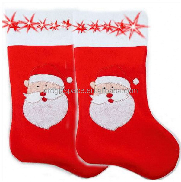 New fashion hot China supplier eco friendly wool Santa claus decor 2018 Christmas stocking socks ornaments bulk buy for sale