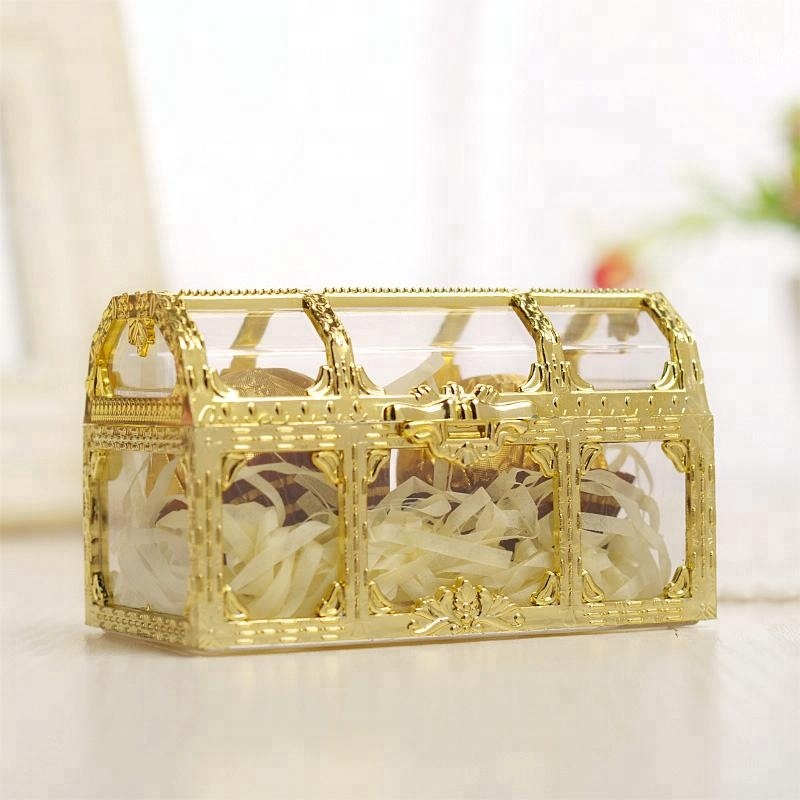 New Style Baby Shower Candy Box Treasure Chest Box Gold and Silver Plastic Candy Box For <strong>Wedding</strong>
