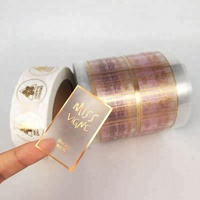 Self Adhesive Customized Printing Clear Gold Foil Stickers Transparent Logo Label