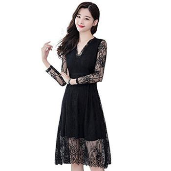 bc51ba85308 Korean Style Sexy Women Dress Long Sleeve V Neck Ladies Black Lace Dress