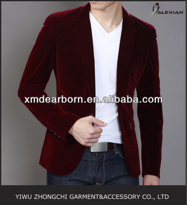 stylish men's red velvet blazer
