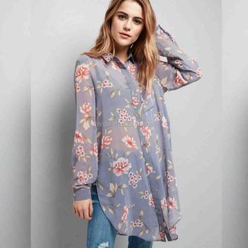 f080e95ece0ebc Floral Shirts for Men Chiffon Longline Shirt Blouses Print Long Sleeve Tops  Cheap Blouses