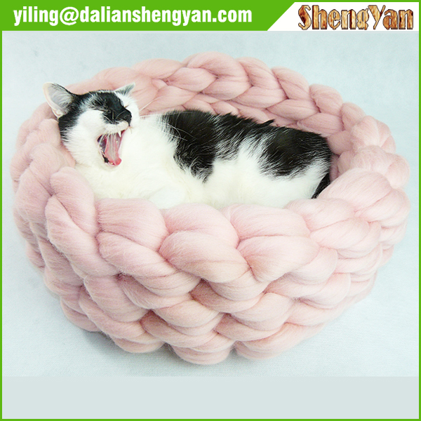 New Style Soft Pet Bed Chunky Knit Cat Bed