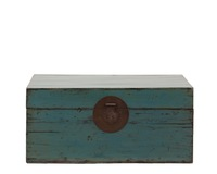 Chinese antique blue lacquered hand-finished distressed wooden trunk