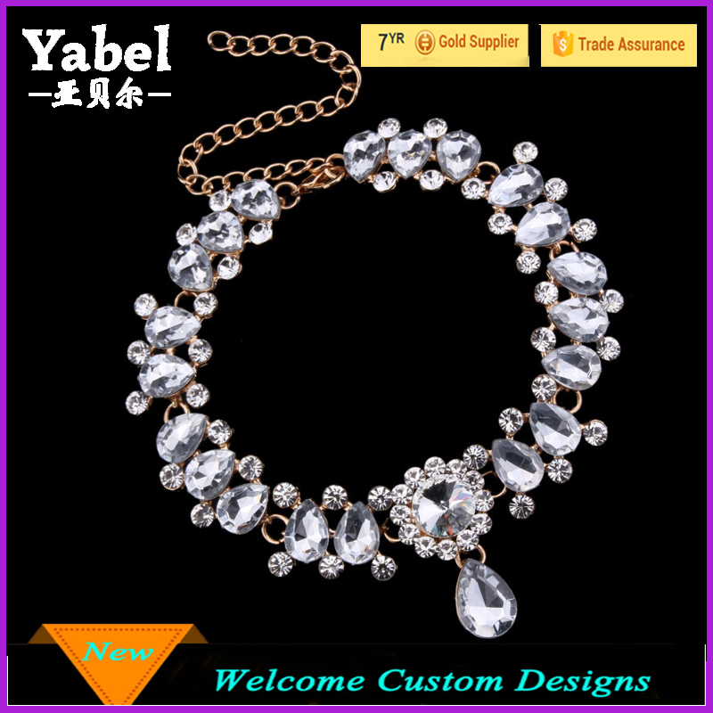 Large Crystal Stone Hawaiian Choker Jewelry Necklace For Sexy Women