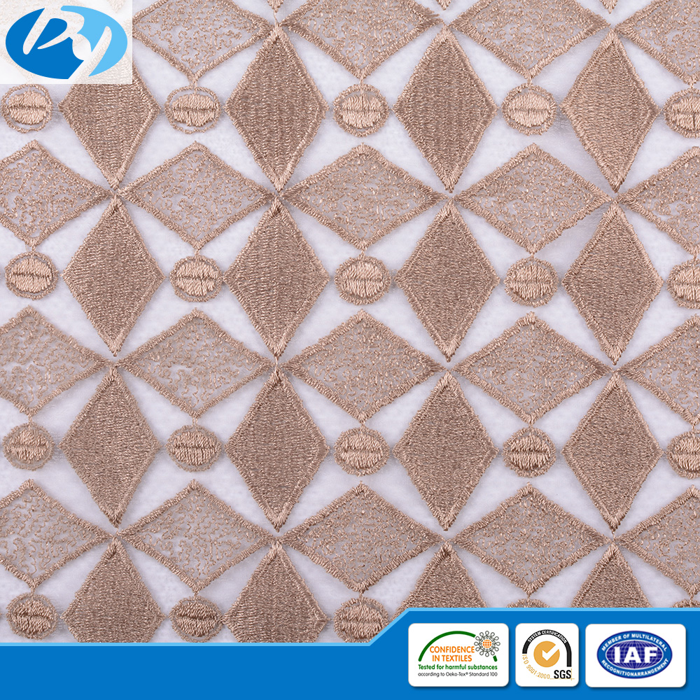 shaoxing keqiao textile wholesale market latest yellow square and circle pattern net design embroidery fabric