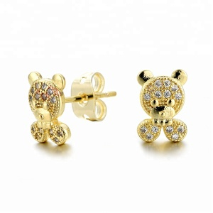 18K Gold/Rose Gold/White Gold/Black Rhodium Plated Wax-setting CZ Stud Earring Fashion Copper Baby Bear Shaped Earring