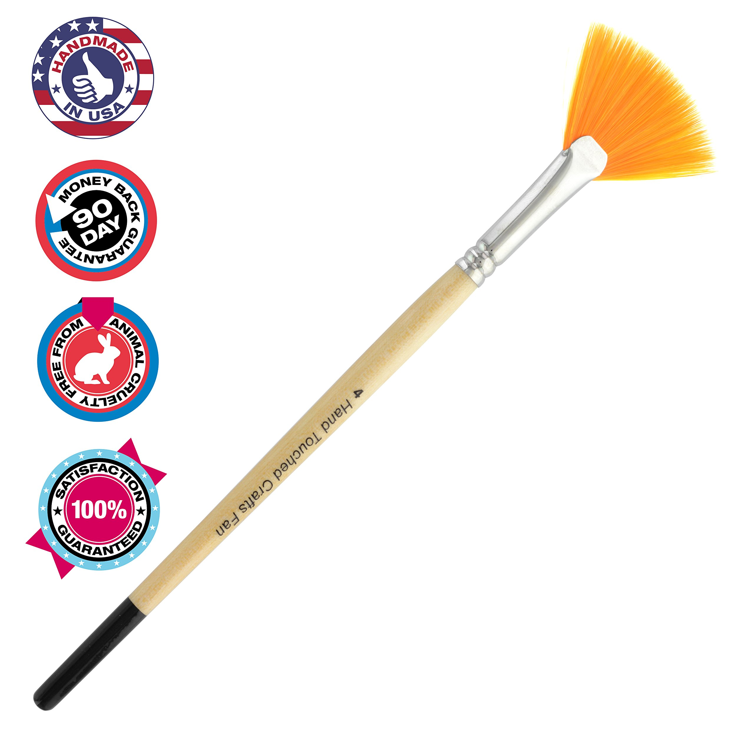 11af58affea Artist Synthetic Fan #4 Paintbrush: Great for Feathering, Blending,  Stippling, &