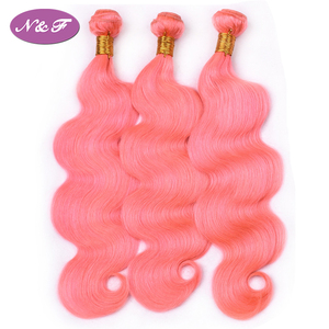 "N&F Rose Pink Color Hair Bundles Raw Malaysian Hair 100% Human Hair Body Wave 10""-26""inches"