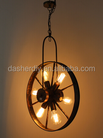 Ancient vintage metal pendant light/rusty Fan lampshade with E27 lamp socket 6lights for Dinner room