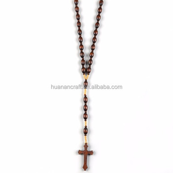 Fashion handmade wooden beads rosary neckalce with cross