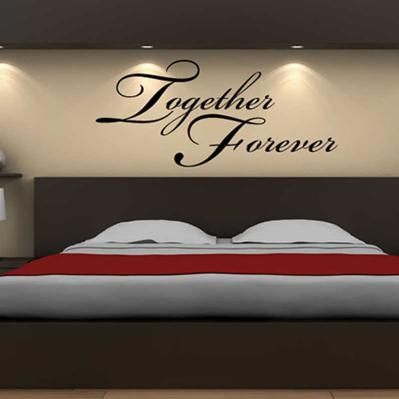 Together Forever Headboard Decor Wall Sticker Art Vinyl Removable Wall  Decal Warm Bedroom Home Decoration