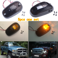 5pcs Smoke Cab Roof Marker Running Light Covers For 03-16 Dodge Ram 2500 3500