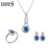 rhodium plating design 925 sterling silver jewelry set for women