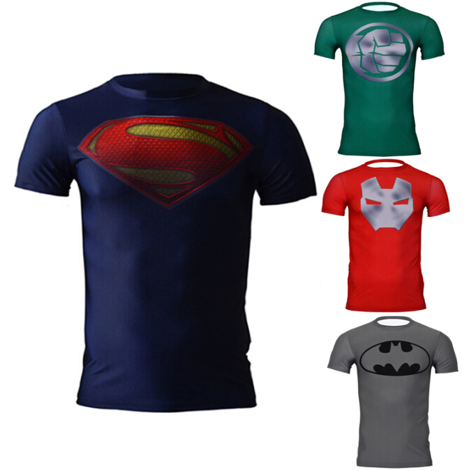 c04aed3a8ee06 Get Quotations · Men marvel avengers superman batman Lycra tees sports  compression armour fitness gym t shirt men
