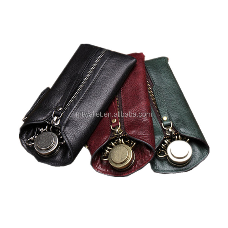 Eupropean wholesales vintage genuine real cowhide leather key pouch / leather key holder coin bag manufacturer