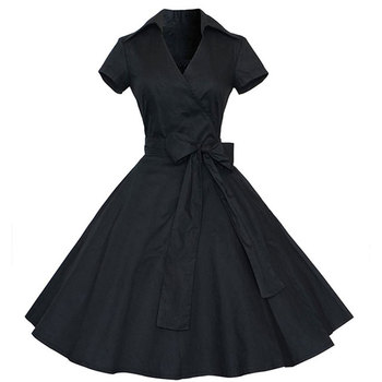 African Styles Designs Plus Size Women Clothing Summer Pin Up Polka Dot Party Office Ball Gown Sexy 50s Vintage Big Swing Dress