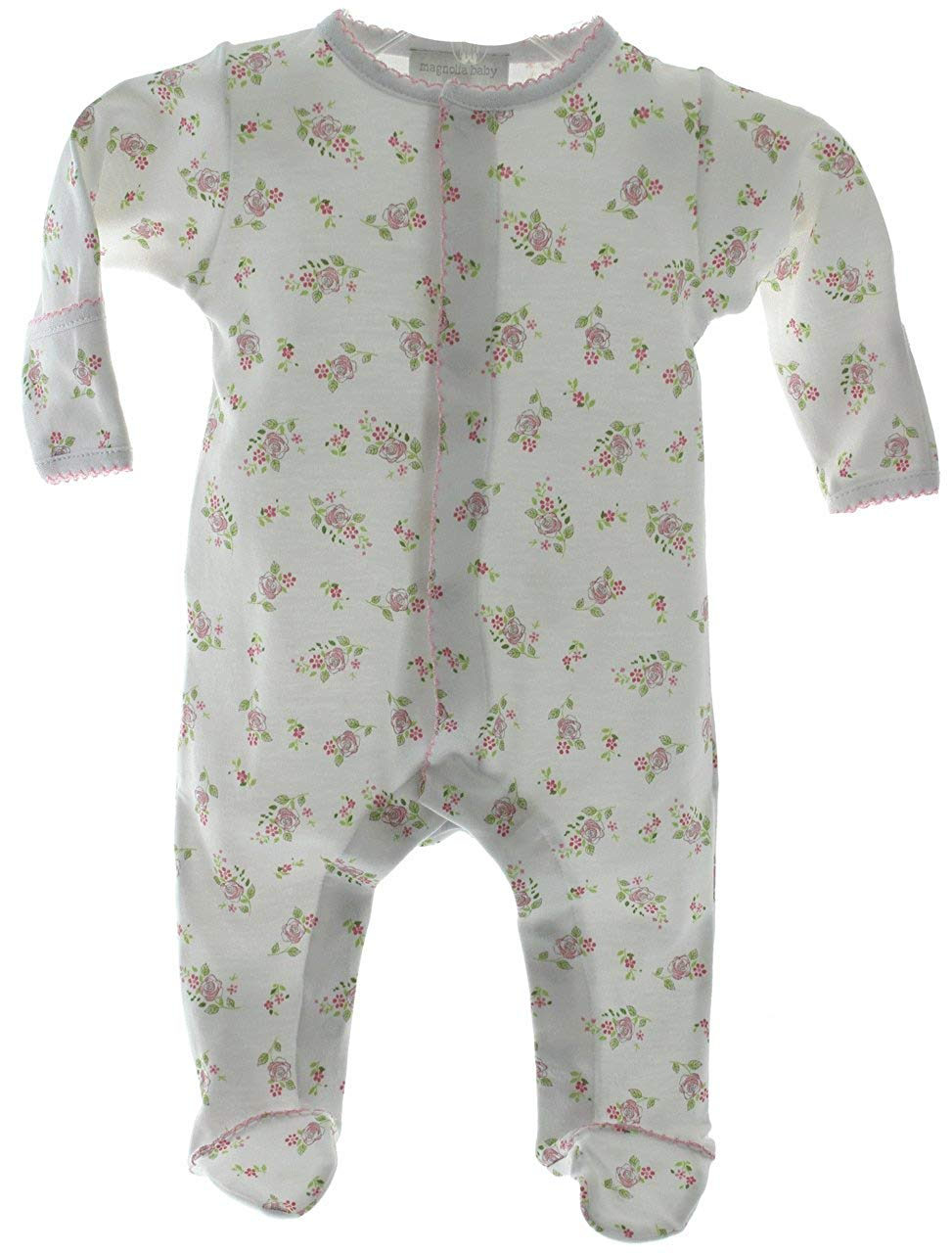 454d63c8199efc Get Quotations · Magnolia Baby Girls White Floral Printed Take Home Footed  Sleeper Layette Outfit