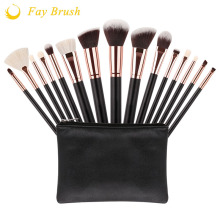 Professional 15 개 메이 컵 brush set synthetic hair 및 염소 hair cosmetic brush set