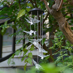 Kingland butterfly solar lights outdoor 6 led hanging lamp solar wind chimes butterfly