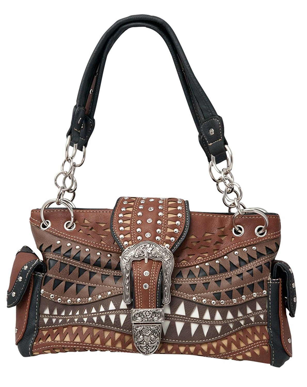 963fb66d9bfc Get Quotations · HW Collection Western Handbag Floral Buckle Multi-Color  Carry Concealed Shoulder Bag Purse