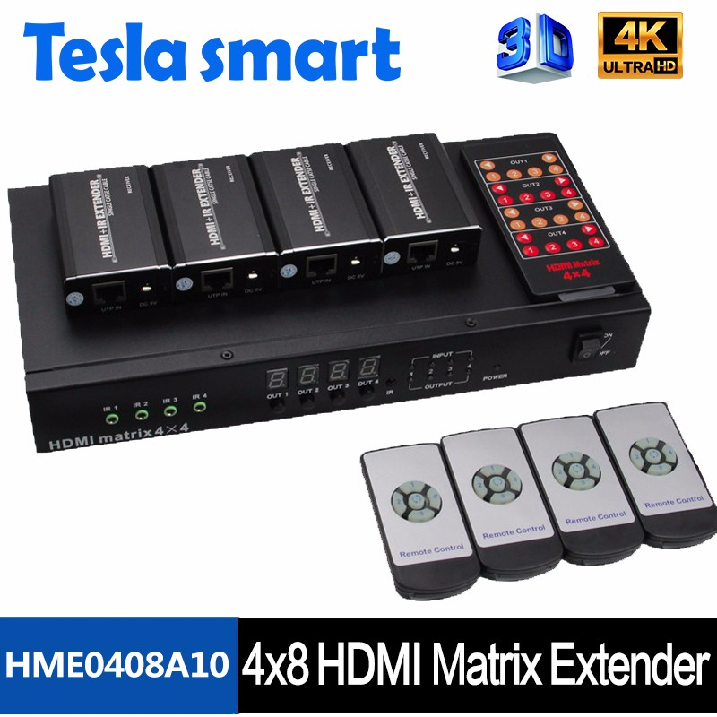 Good Quality 4 in 8 out HDMI Matrix 4x8 hdmi matrix switcher cat5 50m with 1080P