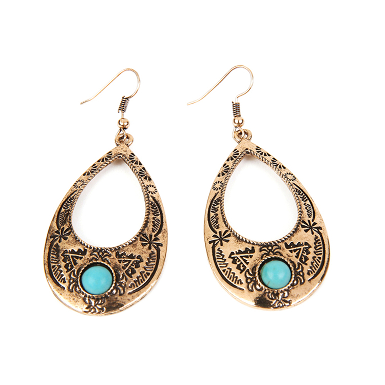 Discount Stock Jewelry Brass Material Vogue Gemstone Earrings