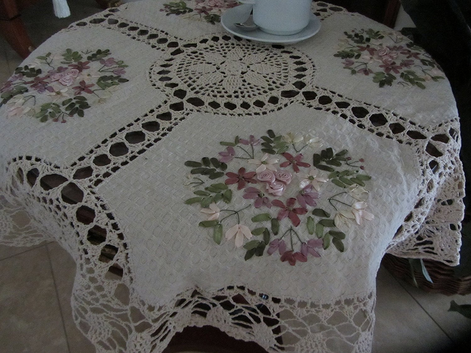 Get Quotations · Tasleffa Elegant 100% Cotton Hand Made Crochet With Ribbon  Embroidered Linen Table Toppers: