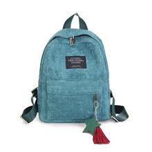 Yogodlns Для женщин рюкзаки школьные сумки через плечо с кисточкой рюкзак из хлопчатобумажной ткани Тетрадь школьные сумки для девочек элегант...(Китай)