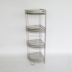 A quarter of circular style 4 layer tier bathroom metal shampoo corner rack standing organiser also for kitchen HD