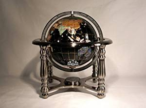 """10"""" Tall Black Onyx Ocean Table Top World Map Gemstone Globe with 4-leg Silver Stand"""