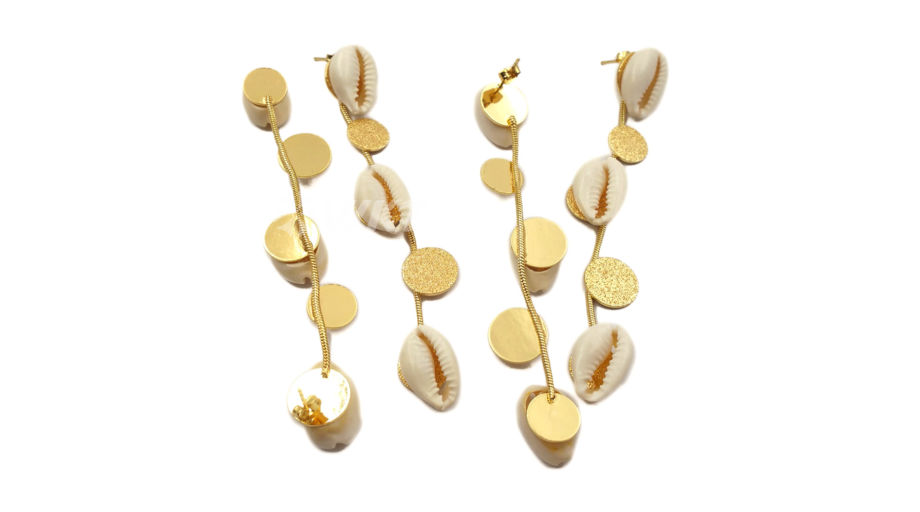 WT-E533 New design fashion Long earrings with round brass gold plate and natural shell Earring natural cowrie Earring