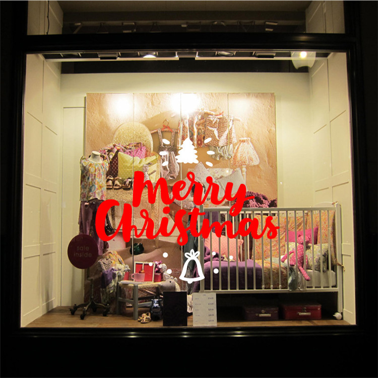 Merry Christmas quote window wall glass Sticker holiday home shop party decoration pvc vinyl waterproof removable wall poster