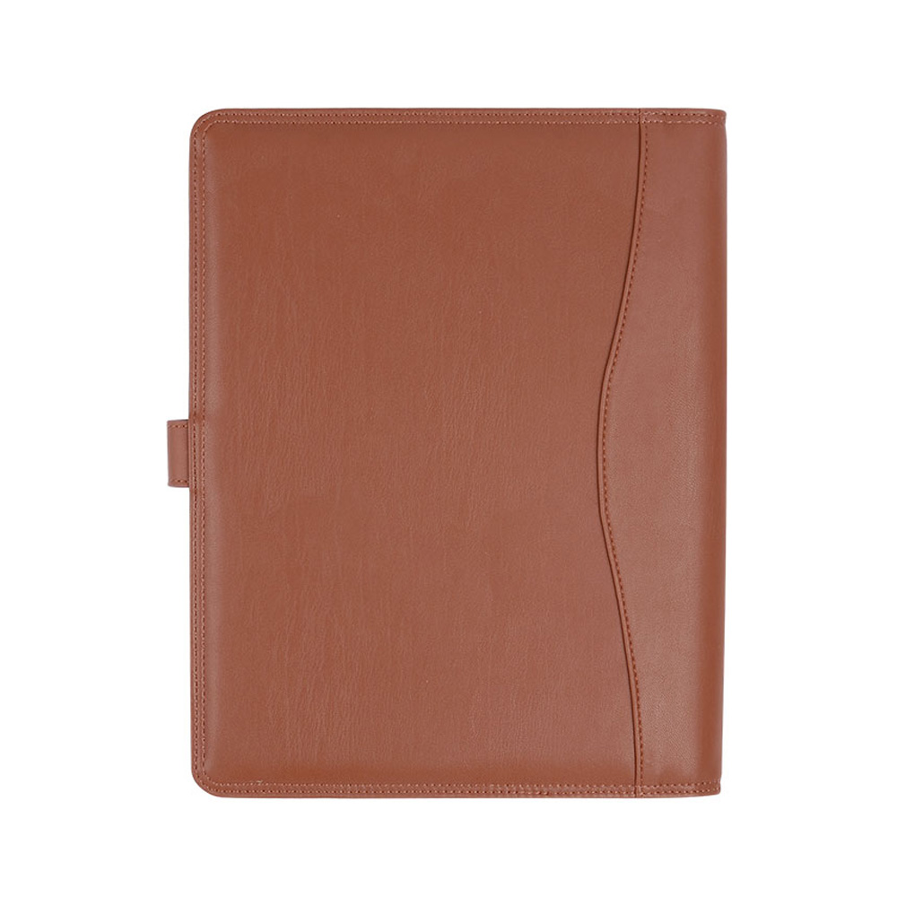 New Design Portfolio Business Notebook Cover Brown Color Notebook Holders PU Leather file Folder Office Supply