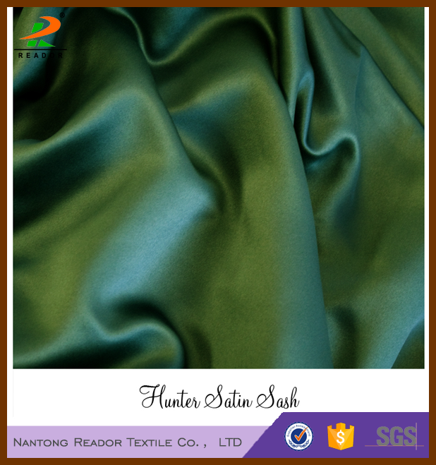 Factory Wholesale Newly Hunter Green Color Polyester Satin Fabric