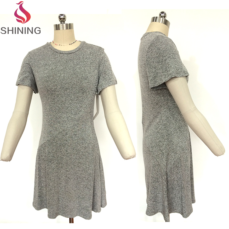 Tight waist / round collar short sleeve dress Daily A-line dress for girl