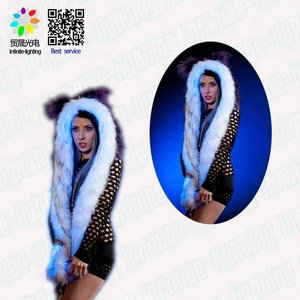 Hot Selling Animal Faux Fur Wolf Head Plush Hooded LED Light Up Scarf Hat