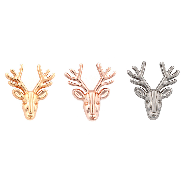 Jewelry Accessories Custom DIY Christmas Series Alloy Silver Gold Deer Charm For Bracelet Making