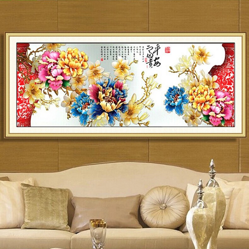 5d round Diy diamond painting colorfull Peony home decoration cross stitch kit diamond embroidery wall stickers home decoration